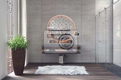 Постер Оформление офиса Современный дизайн интерьера ванной комнаты 3D визуализация, 30x20 см, на бумагеСалон сантехники<br>Постер на холсте или бумаге. Любого нужного вам размера. В раме или без. Подвес в комплекте. Трехслойная надежная упаковка. Доставим в любую точку России. Вам осталось только повесить картину на стену!<br>