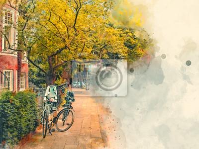 Велосипед на одной из старых улиц в центре Амстердама. Акварель. Стиль масляной живописи., 27x20 см, на бумагеАмстердам<br>Постер на холсте или бумаге. Любого нужного вам размера. В раме или без. Подвес в комплекте. Трехслойная надежная упаковка. Доставим в любую точку России. Вам осталось только повесить картину на стену!<br>