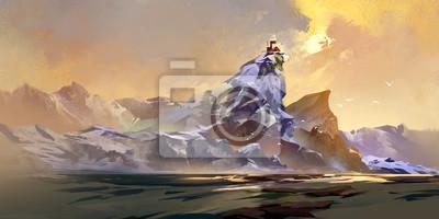 Покрашенный дом в горах в солнечный свет, 40x20 см, на бумагеПейзаж горный в современной живописи<br>Постер на холсте или бумаге. Любого нужного вам размера. В раме или без. Подвес в комплекте. Трехслойная надежная упаковка. Доставим в любую точку России. Вам осталось только повесить картину на стену!<br>