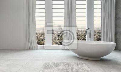 Элегантный современный белый интерьер ванной комнаты, 33x20 см, на бумагеСалон сантехники<br>Постер на холсте или бумаге. Любого нужного вам размера. В раме или без. Подвес в комплекте. Трехслойная надежная упаковка. Доставим в любую точку России. Вам осталось только повесить картину на стену!<br>