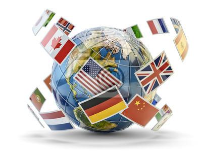 Глобальная коммуникация и международная концепция обмена сообщениями, национальные флаги стран мира глобус Земли, изолированные на белом, 27x20 см, на бумагеБюро переводов<br>Постер на холсте или бумаге. Любого нужного вам размера. В раме или без. Подвес в комплекте. Трехслойная надежная упаковка. Доставим в любую точку России. Вам осталось только повесить картину на стену!<br>