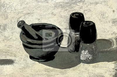 Искусство, картина Натюрморт с кухонными принадлежностями, соль, перец и минометных миску. Оригинальные картины маслом в черно-белых тонах, графическими силы эффект рисования, 30x20 см, на бумагеНатюрморт в современной живописи<br>Постер на холсте или бумаге. Любого нужного вам размера. В раме или без. Подвес в комплекте. Трехслойная надежная упаковка. Доставим в любую точку России. Вам осталось только повесить картину на стену!<br>