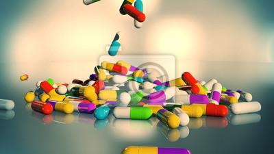3D визуализация разноцветные медицинские таблетки падают сверху вниз, 36x20 см, на бумагеАптека<br>Постер на холсте или бумаге. Любого нужного вам размера. В раме или без. Подвес в комплекте. Трехслойная надежная упаковка. Доставим в любую точку России. Вам осталось только повесить картину на стену!<br>