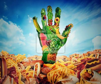 Выбор диеты и понятие ожирения. Фрукты и овощи в форме человеческих рук выходит из области нездоровой пищи, 24x20 см, на бумагеДиетология<br>Постер на холсте или бумаге. Любого нужного вам размера. В раме или без. Подвес в комплекте. Трехслойная надежная упаковка. Доставим в любую точку России. Вам осталось только повесить картину на стену!<br>