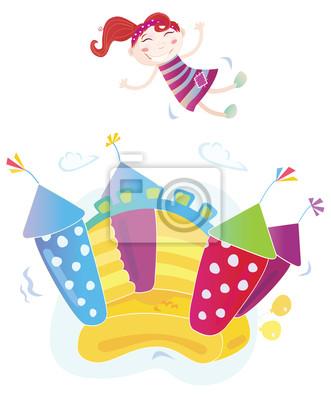 Постер Разные детские постеры Вектор bouncy castle с прыжками ребенка. ВЕКТОР.Разные детские постеры<br>Постер на холсте или бумаге. Любого нужного вам размера. В раме или без. Подвес в комплекте. Трехслойная надежная упаковка. Доставим в любую точку России. Вам осталось только повесить картину на стену!<br>