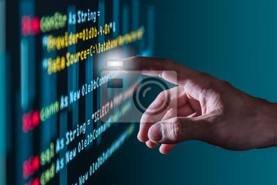 Постер Оформление офиса Абстрактные изображения точки силы в исходный код через экран компьютера. Понятие кодирования, программирования, разработки программного обеспечения, образования и технологий., 30x20 см, на бумагеИнформационные технологии<br>Постер на холсте или бумаге. Любого нужного вам размера. В раме или без. Подвес в комплекте. Трехслойная надежная упаковка. Доставим в любую точку России. Вам осталось только повесить картину на стену!<br>