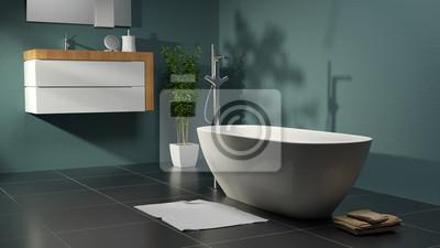 Современная ванная комната с зелеными стенами и шиферной пол как 3D-рендеринга, 36x20 см, на бумагеСалон сантехники<br>Постер на холсте или бумаге. Любого нужного вам размера. В раме или без. Подвес в комплекте. Трехслойная надежная упаковка. Доставим в любую точку России. Вам осталось только повесить картину на стену!<br>