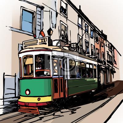 Пейзаж современный городской Типичные трамвай в ЛиссабонеПейзаж современный городской<br>Репродукция на холсте или бумаге. Любого нужного вам размера. В раме или без. Подвес в комплекте. Трехслойная надежная упаковка. Доставим в любую точку России. Вам осталось только повесить картину на стену!<br>