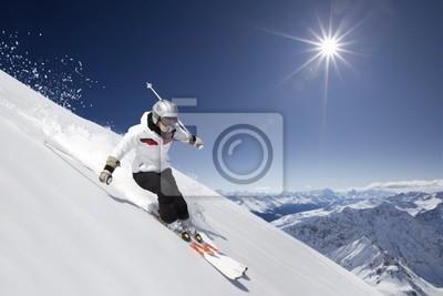 Постер Спорт Женщины лыжник с солнцем, 30x20 см, на бумагеГорные лыжи<br>Постер на холсте или бумаге. Любого нужного вам размера. В раме или без. Подвес в комплекте. Трехслойная надежная упаковка. Доставим в любую точку России. Вам осталось только повесить картину на стену!<br>