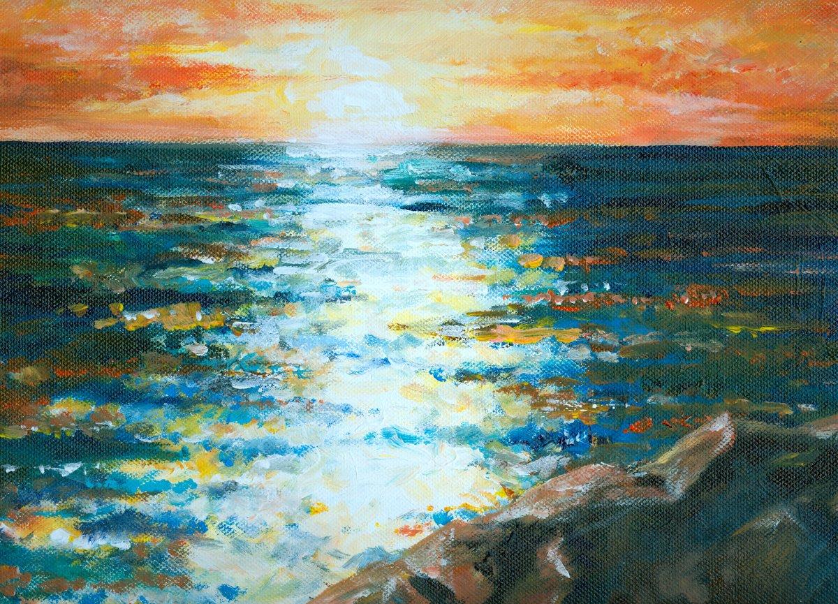 Пейзаж современный морской Море нарисованное акрилом.Пейзаж современный морской<br>Репродукция на холсте или бумаге. Любого нужного вам размера. В раме или без. Подвес в комплекте. Трехслойная надежная упаковка. Доставим в любую точку России. Вам осталось только повесить картину на стену!<br>