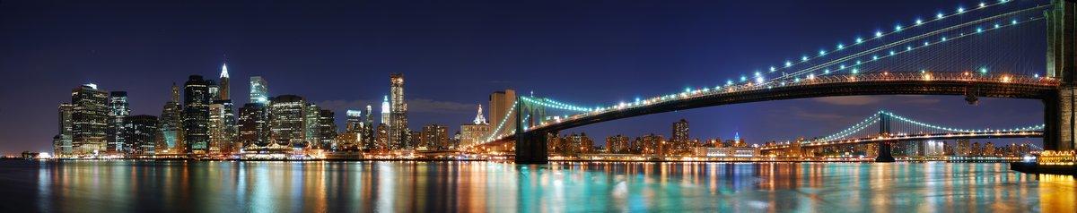 Постер Нью-Йорк Бруклинский Мост  панорама  в Городе Нью-Йорк, МанхэттенНью-Йорк<br>Постер на холсте или бумаге. Любого нужного вам размера. В раме или без. Подвес в комплекте. Трехслойная надежная упаковка. Доставим в любую точку России. Вам осталось только повесить картину на стену!<br>