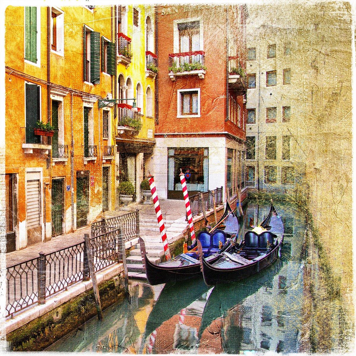 Постер Венеция Каналы Венеции - ретро стиле изображенияВенеция<br>Постер на холсте или бумаге. Любого нужного вам размера. В раме или без. Подвес в комплекте. Трехслойная надежная упаковка. Доставим в любую точку России. Вам осталось только повесить картину на стену!<br>