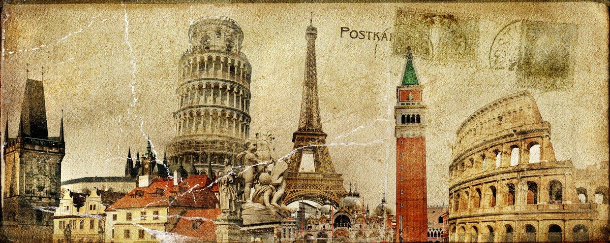 Постер Венеция Винтаж почтовой карточки - ruropean праздникиВенеция<br>Постер на холсте или бумаге. Любого нужного вам размера. В раме или без. Подвес в комплекте. Трехслойная надежная упаковка. Доставим в любую точку России. Вам осталось только повесить картину на стену!<br>