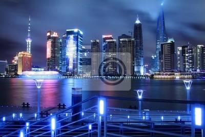 Постер Шанхай Lujiazui красивый мечтательный голубой город ночью, в Pudong ShanghaiШанхай<br>Постер на холсте или бумаге. Любого нужного вам размера. В раме или без. Подвес в комплекте. Трехслойная надежная упаковка. Доставим в любую точку России. Вам осталось только повесить картину на стену!<br>