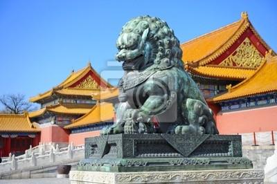 Постер Пекин Подробно Запретный Город (Гугун) в Китае: бронзовый Лев,Пекин<br>Постер на холсте или бумаге. Любого нужного вам размера. В раме или без. Подвес в комплекте. Трехслойная надежная упаковка. Доставим в любую точку России. Вам осталось только повесить картину на стену!<br>