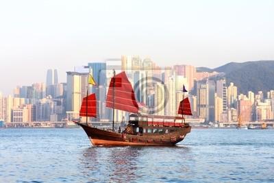 Постер Гонконг Китайские лодкиГонконг<br>Постер на холсте или бумаге. Любого нужного вам размера. В раме или без. Подвес в комплекте. Трехслойная надежная упаковка. Доставим в любую точку России. Вам осталось только повесить картину на стену!<br>