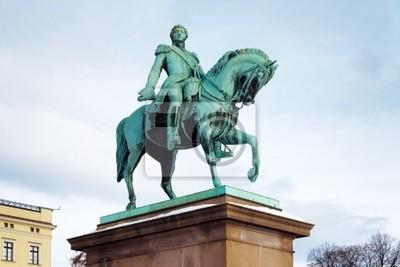 Постер Города и карты Статуя Короля Карла XIV Юхана в Осло, Норвегия, 30x20 см, на бумагеОсло<br>Постер на холсте или бумаге. Любого нужного вам размера. В раме или без. Подвес в комплекте. Трехслойная надежная упаковка. Доставим в любую точку России. Вам осталось только повесить картину на стену!<br>