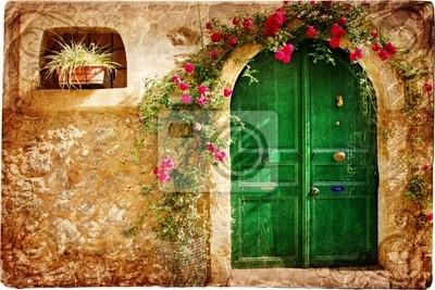 Постер Греция Старый греческий двери - ретро стиле изображенияГреция<br>Постер на холсте или бумаге. Любого нужного вам размера. В раме или без. Подвес в комплекте. Трехслойная надежная упаковка. Доставим в любую точку России. Вам осталось только повесить картину на стену!<br>