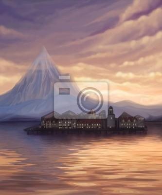Закат пейзаж с видом на озеро, горы и город на воде, цифровой, 20x24 см, на бумагеПейзаж горный в современной живописи<br>Постер на холсте или бумаге. Любого нужного вам размера. В раме или без. Подвес в комплекте. Трехслойная надежная упаковка. Доставим в любую точку России. Вам осталось только повесить картину на стену!<br>