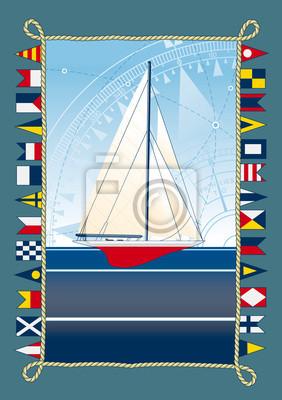 Постер Парусник с морские флагиМеждународные морские сигнальные флаги<br>Постер на холсте или бумаге. Любого нужного вам размера. В раме или без. Подвес в комплекте. Трехслойная надежная упаковка. Доставим в любую точку России. Вам осталось только повесить картину на стену!<br>