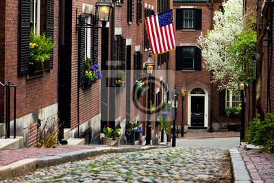 Постер Бостон Желудь-Стрит в Бостоне, штат МассачусетсБостон<br>Постер на холсте или бумаге. Любого нужного вам размера. В раме или без. Подвес в комплекте. Трехслойная надежная упаковка. Доставим в любую точку России. Вам осталось только повесить картину на стену!<br>