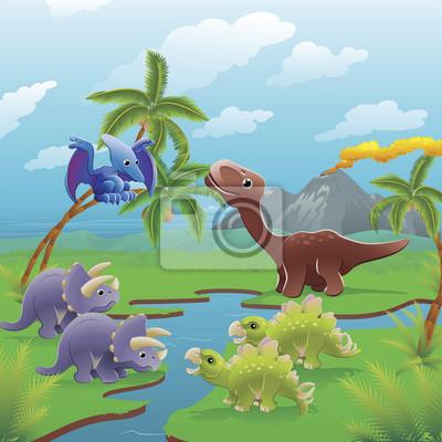 Постер Разные детские постеры Мультфильм динозавров сцены.Разные детские постеры<br>Постер на холсте или бумаге. Любого нужного вам размера. В раме или без. Подвес в комплекте. Трехслойная надежная упаковка. Доставим в любую точку России. Вам осталось только повесить картину на стену!<br>