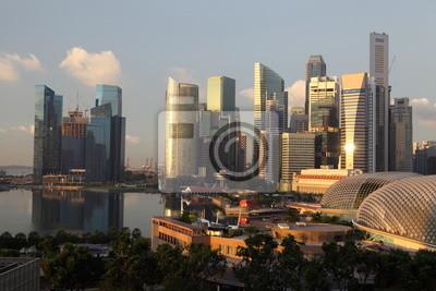 Постер Сингапур Восход солнца над Центре города Небоскребы Сингапур.Сингапур<br>Постер на холсте или бумаге. Любого нужного вам размера. В раме или без. Подвес в комплекте. Трехслойная надежная упаковка. Доставим в любую точку России. Вам осталось только повесить картину на стену!<br>