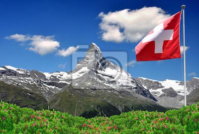 Постер Горы Красивая гора Маттерхорн со швейцарского флага - швейцарских АльпахГоры<br>Постер на холсте или бумаге. Любого нужного вам размера. В раме или без. Подвес в комплекте. Трехслойная надежная упаковка. Доставим в любую точку России. Вам осталось только повесить картину на стену!<br>