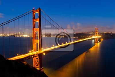 Постер Города и карты Золотые Ворота в ночь, 30x20 см, на бумагеСан-Франциско<br>Постер на холсте или бумаге. Любого нужного вам размера. В раме или без. Подвес в комплекте. Трехслойная надежная упаковка. Доставим в любую точку России. Вам осталось только повесить картину на стену!<br>