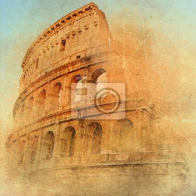 Постер Рим Великого античного Рима - Колизея , произведение искусства в стиле ретроРим<br>Постер на холсте или бумаге. Любого нужного вам размера. В раме или без. Подвес в комплекте. Трехслойная надежная упаковка. Доставим в любую точку России. Вам осталось только повесить картину на стену!<br>