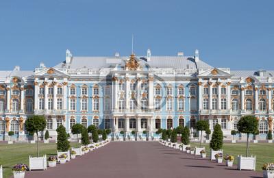 Постер Санкт-Петербург Екатерининский дворец в Царском СелеСанкт-Петербург<br>Постер на холсте или бумаге. Любого нужного вам размера. В раме или без. Подвес в комплекте. Трехслойная надежная упаковка. Доставим в любую точку России. Вам осталось только повесить картину на стену!<br>