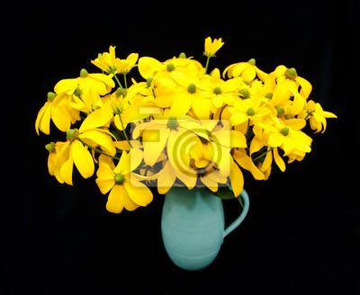 Ваза с желтыми, но  зеленые  во главе, Рудбекии цветы, 24x20 см, на бумагеРудбекии<br>Постер на холсте или бумаге. Любого нужного вам размера. В раме или без. Подвес в комплекте. Трехслойная надежная упаковка. Доставим в любую точку России. Вам осталось только повесить картину на стену!<br>