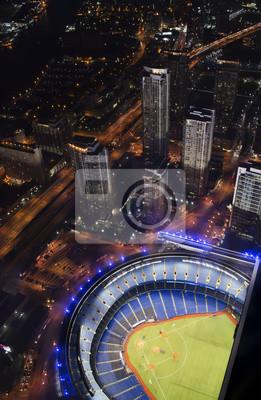 Постер Торонто Бейсбольный стадион с небоскребамиТоронто<br>Постер на холсте или бумаге. Любого нужного вам размера. В раме или без. Подвес в комплекте. Трехслойная надежная упаковка. Доставим в любую точку России. Вам осталось только повесить картину на стену!<br>