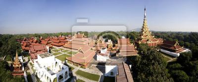 Постер Мьянма (Бирма) Мандалай Королевский дворец, панорамный видМьянма (Бирма)<br>Постер на холсте или бумаге. Любого нужного вам размера. В раме или без. Подвес в комплекте. Трехслойная надежная упаковка. Доставим в любую точку России. Вам осталось только повесить картину на стену!<br>