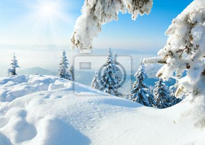 Постер Пейзаж горный Зимой снежный пейзажПейзаж горный<br>Постер на холсте или бумаге. Любого нужного вам размера. В раме или без. Подвес в комплекте. Трехслойная надежная упаковка. Доставим в любую точку России. Вам осталось только повесить картину на стену!<br>