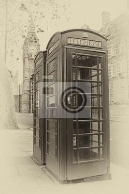 Постер Лондон Винтаж образ Лондонской телефонной будкиЛондон<br>Постер на холсте или бумаге. Любого нужного вам размера. В раме или без. Подвес в комплекте. Трехслойная надежная упаковка. Доставим в любую точку России. Вам осталось только повесить картину на стену!<br>