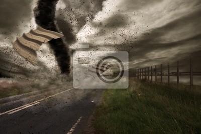 Постер Ураган, буря, торнадо Большие торнадо над дорогой,Ураган, буря, торнадо<br>Постер на холсте или бумаге. Любого нужного вам размера. В раме или без. Подвес в комплекте. Трехслойная надежная упаковка. Доставим в любую точку России. Вам осталось только повесить картину на стену!<br>