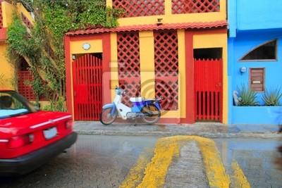 Постер Мехико Красочные Карибского бассейна домов тропических Isla MujeresМехико<br>Постер на холсте или бумаге. Любого нужного вам размера. В раме или без. Подвес в комплекте. Трехслойная надежная упаковка. Доставим в любую точку России. Вам осталось только повесить картину на стену!<br>