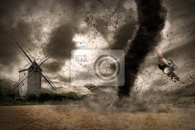 Постер Ураган, буря, торнадо Большие торнадо над ветряной мельницыУраган, буря, торнадо<br>Постер на холсте или бумаге. Любого нужного вам размера. В раме или без. Подвес в комплекте. Трехслойная надежная упаковка. Доставим в любую точку России. Вам осталось только повесить картину на стену!<br>