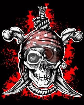 Постер Веселый Роджер, пиратский символ-скрещенные кинжалыПираты<br>Постер на холсте или бумаге. Любого нужного вам размера. В раме или без. Подвес в комплекте. Трехслойная надежная упаковка. Доставим в любую точку России. Вам осталось только повесить картину на стену!<br>