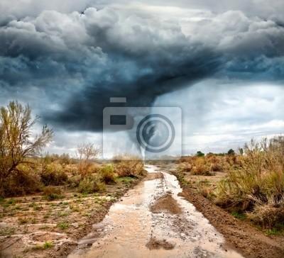 """Постер Ураган, буря, торнадо """"Ураган и Затоплены дороги"""" от Artwall"""