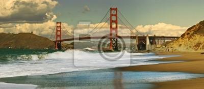Постер Сан-Франциско Панорамный вид на мост золотые Ворота.Сан-Франциско<br>Постер на холсте или бумаге. Любого нужного вам размера. В раме или без. Подвес в комплекте. Трехслойная надежная упаковка. Доставим в любую точку России. Вам осталось только повесить картину на стену!<br>