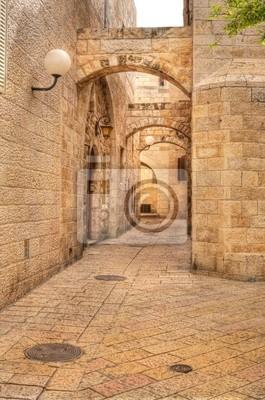 Постер Иерусалим Старая улица в Иерусалиме, Израиль.Иерусалим<br>Постер на холсте или бумаге. Любого нужного вам размера. В раме или без. Подвес в комплекте. Трехслойная надежная упаковка. Доставим в любую точку России. Вам осталось только повесить картину на стену!<br>