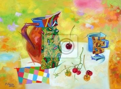 Искусство, картина Постер 35482687-4261, 27x20 см, на бумагеНатюрморт в современной живописи<br>Постер на холсте или бумаге. Любого нужного вам размера. В раме или без. Подвес в комплекте. Трехслойная надежная упаковка. Доставим в любую точку России. Вам осталось только повесить картину на стену!<br>