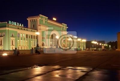 Постер Новосибирск Ночной вид на вокзал в НовосибирскеНовосибирск<br>Постер на холсте или бумаге. Любого нужного вам размера. В раме или без. Подвес в комплекте. Трехслойная надежная упаковка. Доставим в любую точку России. Вам осталось только повесить картину на стену!<br>