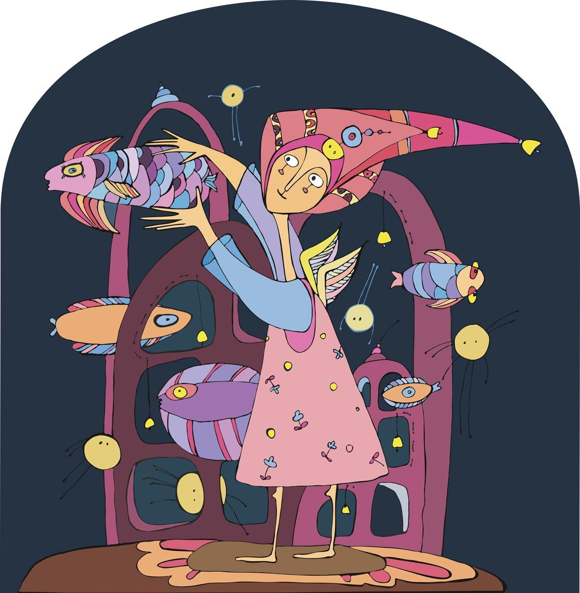 Постер Разные детские постеры Девушка в фиолетовом платье ловит темно-синие рыбы под водойРазные детские постеры<br>Постер на холсте или бумаге. Любого нужного вам размера. В раме или без. Подвес в комплекте. Трехслойная надежная упаковка. Доставим в любую точку России. Вам осталось только повесить картину на стену!<br>
