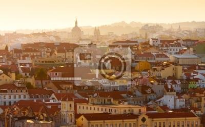 Постер Города и карты Вид на Лиссабон,Португалия на закате, 32x20 см, на бумагеЛиссабон<br>Постер на холсте или бумаге. Любого нужного вам размера. В раме или без. Подвес в комплекте. Трехслойная надежная упаковка. Доставим в любую точку России. Вам осталось только повесить картину на стену!<br>