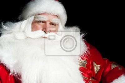 Санта Клаус портрет улыбаясь, изолированные на черном фоне, 30x20 см, на бумаге11.18 День рождения Деда Мороза<br>Постер на холсте или бумаге. Любого нужного вам размера. В раме или без. Подвес в комплекте. Трехслойная надежная упаковка. Доставим в любую точку России. Вам осталось только повесить картину на стену!<br>