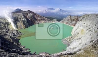 Постер Вулканы Sulphatic озеро в кратере вулкана Ijen. ИндонезияВулканы<br>Постер на холсте или бумаге. Любого нужного вам размера. В раме или без. Подвес в комплекте. Трехслойная надежная упаковка. Доставим в любую точку России. Вам осталось только повесить картину на стену!<br>