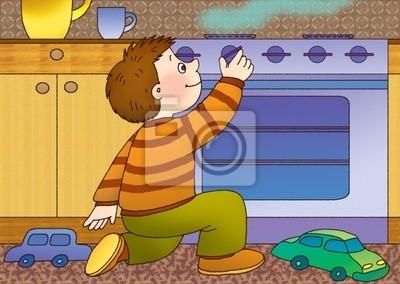 Постер Пожарная безопасность Маленький мальчик играл на кухне с газовой плитойПожарная безопасность<br>Постер на холсте или бумаге. Любого нужного вам размера. В раме или без. Подвес в комплекте. Трехслойная надежная упаковка. Доставим в любую точку России. Вам осталось только повесить картину на стену!<br>